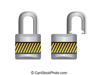 pad lock - padlock open and closed isolated over white...