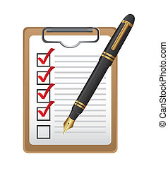 checklist on clipboard with pen isolated over white...