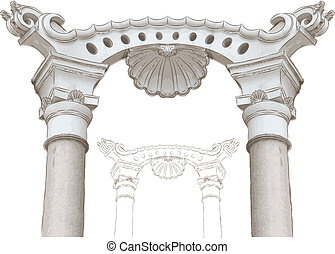 classic arch and columns sketch - classic arch and columns...