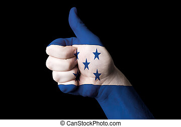 honduras national flag thumb up gesture for excellence and achie