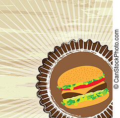 grunge food - grunge hamburger over brown background, fast...