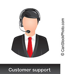 customer support with headphones over white background....
