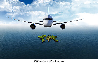 Travel around the world: airplane over the sea with world...