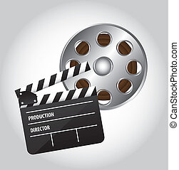 clapper board and movie film over gray background vector