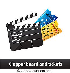 clapper board and tickets