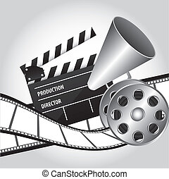 cinema vector - megaphone with clapper board and movie film...