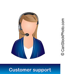 customer support - receptionist customer support over white...