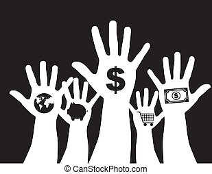 hand with money sign isolated over black background vector