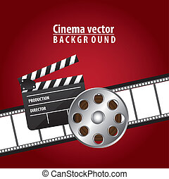 cinema vector - clapper board with movie film and film...