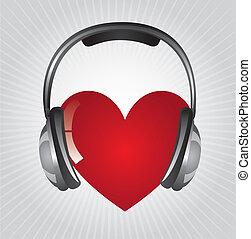 headphones with heart