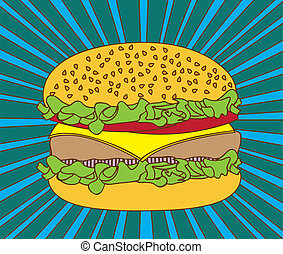 hamburger over blue backgroud, pop art. vector illustration