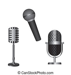 microphones isolated over white background vector...