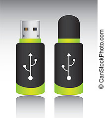 usb memory with shadow over gray background. vector...