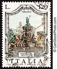 Franqueo, estampilla, Italia, 1978, neptuno, fuente, Trent,...