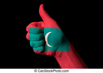 maldives national flag thumb up gesture for excellence and achie
