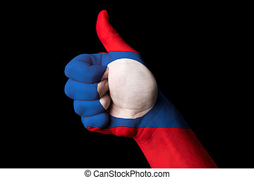 laos national flag thumb up gesture for excellence and achieveme