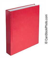 Red book, isolated - Blank red hardback book cover ready for...