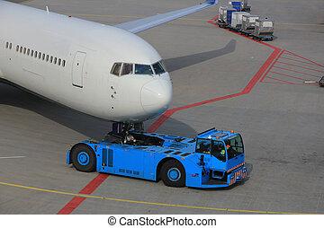 samolot, bez grosza zajęty, wstecz, brama