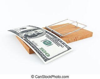 Money trap - 3D rendering of a mouse trap with 100 dollar...
