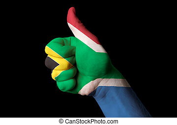 south africa national flag thumb up gesture for excellence...