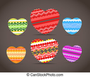 Colorful ornamental hearts collection