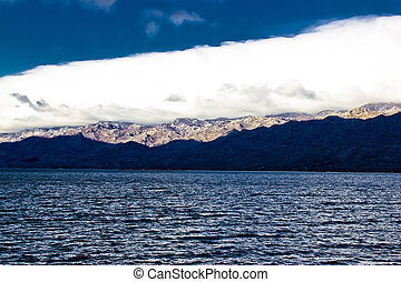 Velebit mountain and sea weather layers, Dalmatia, Croatia