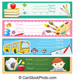 Back to School - illustration of back to school banner set