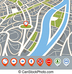 arrow, avenue, background, cartography, city, coordinate,...