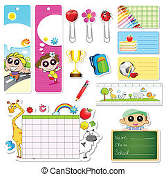 School Stationery - illustration of set of school stationery...