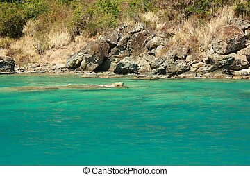 Clear water and island - Clear torquoise water and tropical...