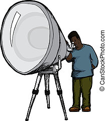 Man With Telescope - Surprised Black man looks through large...