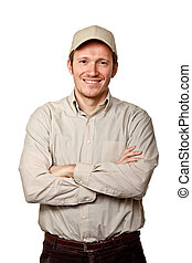 smiling worker - portrait of happy worker on white