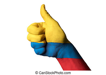 colombia national flag thumb up gesture for excellence and...