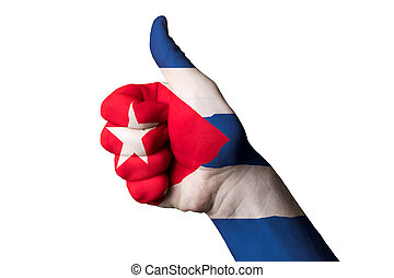 cuba national flag thumb up gesture for excellence and achieveme