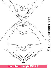 abstract valentine`s hearts of human hands. Vector clip-art