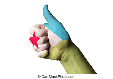 djibuti national flag thumb up gesture for excellence and achiev