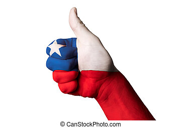 chile national flag thumb up gesture for excellence and...