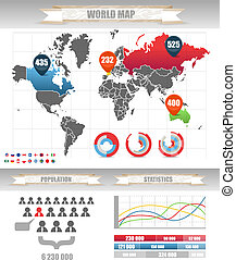 Infographics. Earth map and different charts