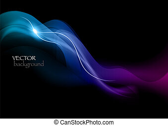 blue abstract - blue smoke effect on the black background