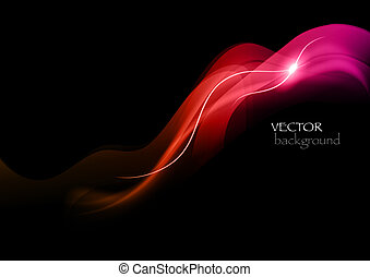red abstract smoke - red rays on the black background