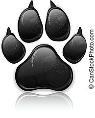 Paw Prints - Black animal paw print isolated on white,...