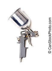 spray gun red - a paintball gun, used for painting vehicles...