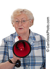 Important annoncement - Elderly woman speaking into a...