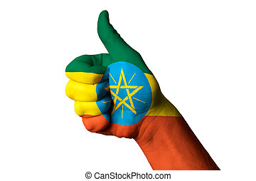 ethiopia national flag thumb up gesture for excellence and achie