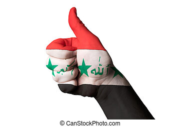 iraq national flag thumb up gesture for excellence and achieveme