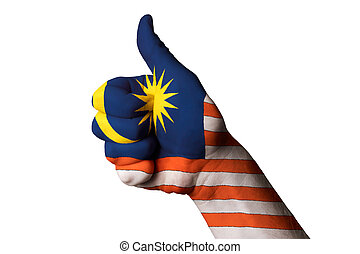 malaysia national flag thumb up gesture for excellence and...