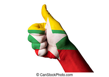 myanmar national flag thumb up gesture for excellence and achiev