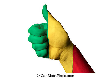 mali national flag thumb up gesture for excellence and achieveme