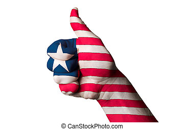 liberia national flag thumb up gesture for excellence and achiev