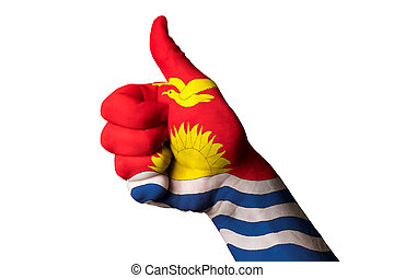 kiribati national flag thumb up gesture for excellence and achie